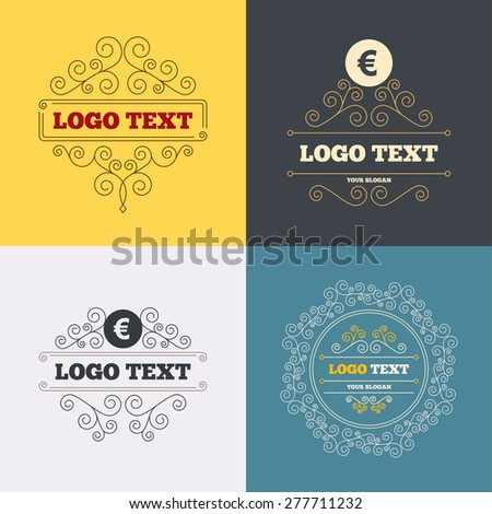 Vintage flourishes calligraphic. Euro sign icon. EUR currency symbol. Money label. Luxury ornament lines. Vector - stock vector