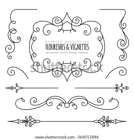 Vintage flourishes, dividers and vignettes, page decoration template, set of calligraphic decorative design elements in retro style, vector scroll embellishment on white - stock vector