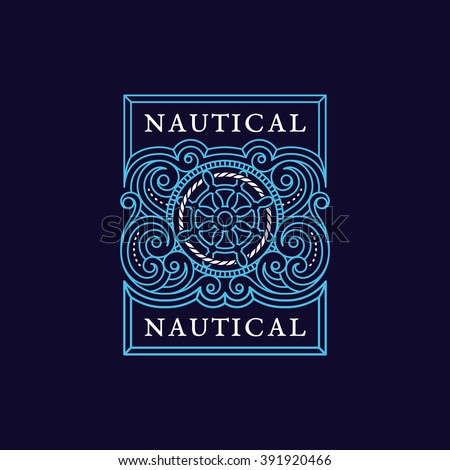 Vintage flourishes ornament label template with steering wheel and rope in trendy linear style. Vector illustration. - stock vector