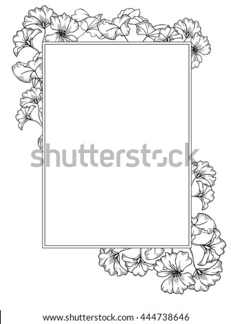 frame with geranium flowers and leaves hand drawing style black