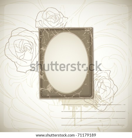 Vintage flower background with photo frame - stock vector