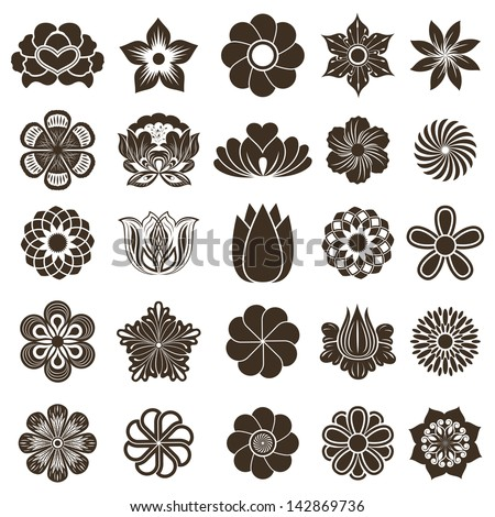 Vintage flower buds vector design elements isolated on white background. - stock vector