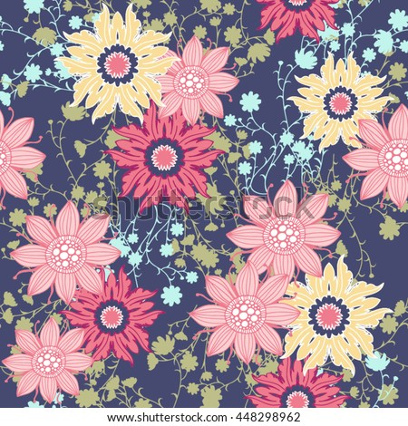 Vintage Flower Pattern Print For T Shirt Apparel Textile Or Wrapping Classic