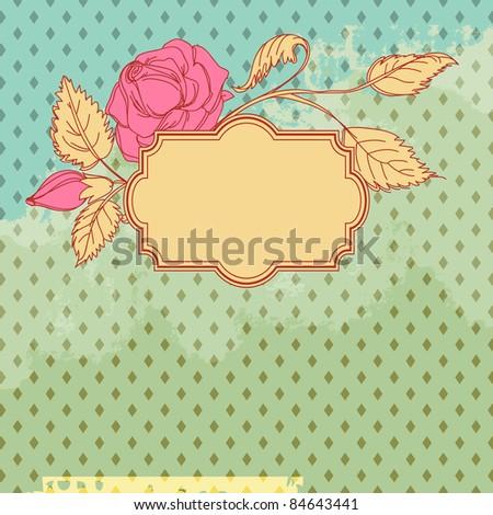 Vintage flower scrap template design - stock vector