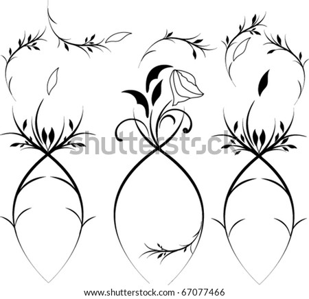 Vintage flower set - stock vector
