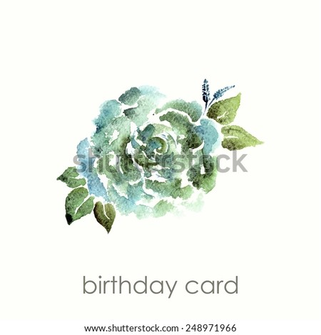 Vintage flower. Watercolor birthday card with rose. Floral decorative element. - stock vector