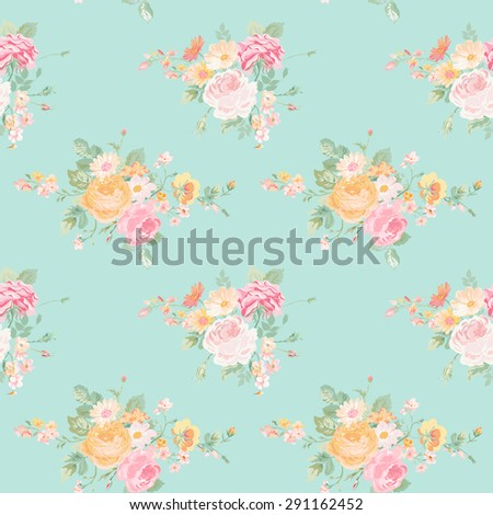 Vintage Flowers Background - Seamless Floral Shabby Chic Pattern - in vector - stock vector