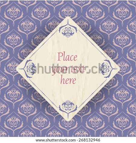 vintage flowers - light gold flower pattern on old violet background and a wood square with old violet border and place for your text - stock vector