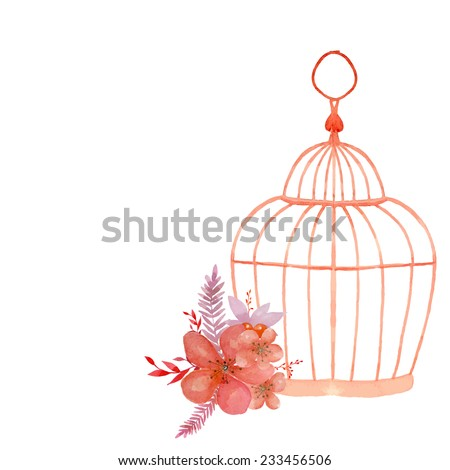 Vintage flowers posy and cage. Watercolor wedding object isolated on white background. - stock vector