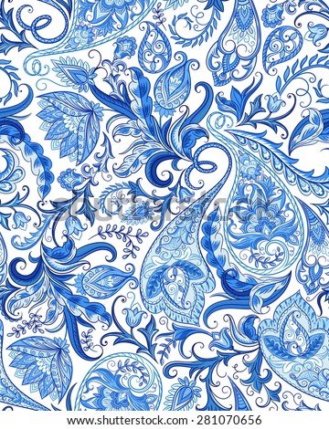 Vintage flowers seamless paisley pattern. Traditional persian pickles ornament. Fabric, textile, card background, wrapping paper, wallpaper template. - stock vector
