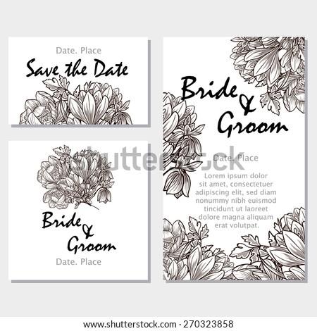 Vintage flowers wedding invitation cards floral stock vector hd wedding invitation cards with floral elements flower vector background stopboris Gallery