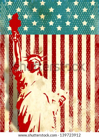 Vintage flyer, poster or background for American Independence day with statue of liberty. - stock vector