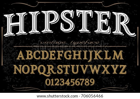 Vintage Font handcrafted vector named hipster