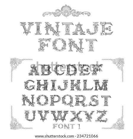 vintage font set - stock vector
