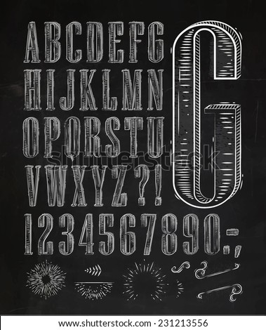 Vintage font set letters in retro style old alphabet on chalkboard - stock vector