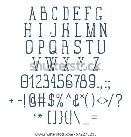 Vintage Font Set With Numbers And Signs Vector Illustration
