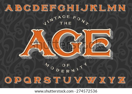 "Vintage font ""The Age of Modernity"". Stylish retro art-nouveau typeface with engraved technique embossing. With dark seamless pattern on background. - stock vector"