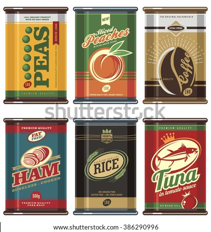 Vintage food cans. Retro food can vector collection. No gradients, no transparencies, no drop shadow effects, only fill colors. Peas, coffee, peaches, ham, tuna, rice. - stock vector
