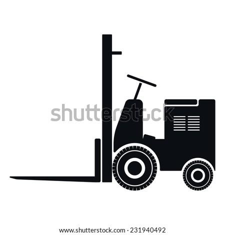 Vintage Forklift Icon, Vector Illustration - stock vector