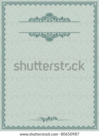 Vintage form for the design of blanks and certificates. - stock vector