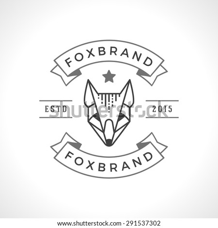 Vintage Fox face Line art logotype emblem symbol. Can be used for labels, badges, stickers, logos vector illustration. - stock vector