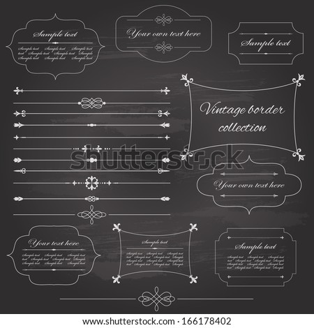 Vintage frame and page decoration set on chalkboard retro background. Calligraphic design elements. - stock vector