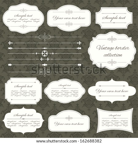 Vintage frame and page decoration set on damask seamless background color of dark chocolate. Calligraphic design elements.  - stock vector
