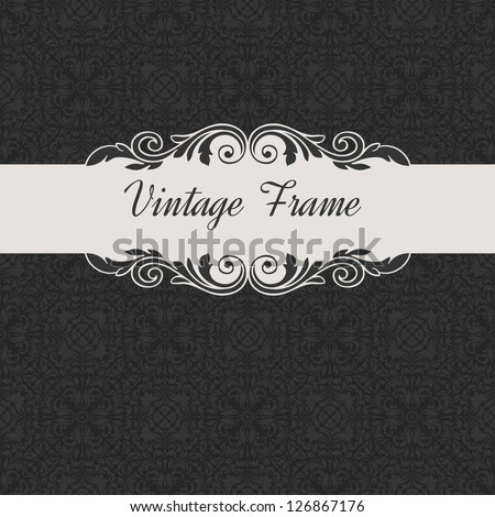 vintage frame and seamless pattern - stock vector