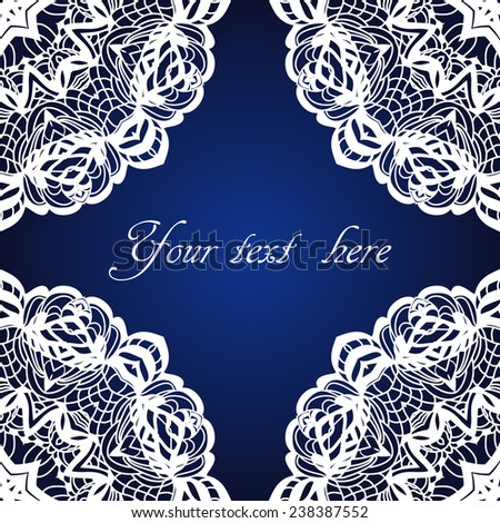 Vintage frame, christmas lace pattern, vector abstraction - stock vector