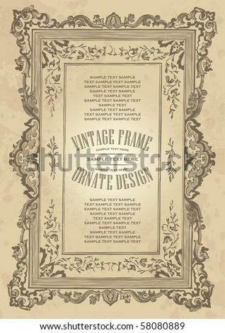 vintage frame design, vector - stock vector