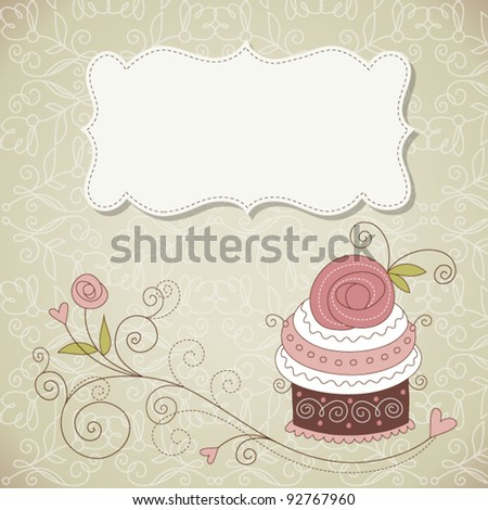 Vintage frame, floral background - stock vector