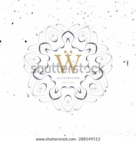 Vintage Frame for Luxury Logos, Restaurant, Hotel, Boutique or Business Identity. Royalty, Heraldic Design with Flourishes Elegant Design Elements. Vector Illustration Template - stock vector