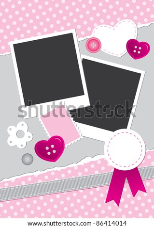 vintage frame for photos with scrapbook elements - stock vector