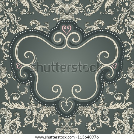 Vintage frame for your text on seamless  brown baroque patterned  background - stock vector