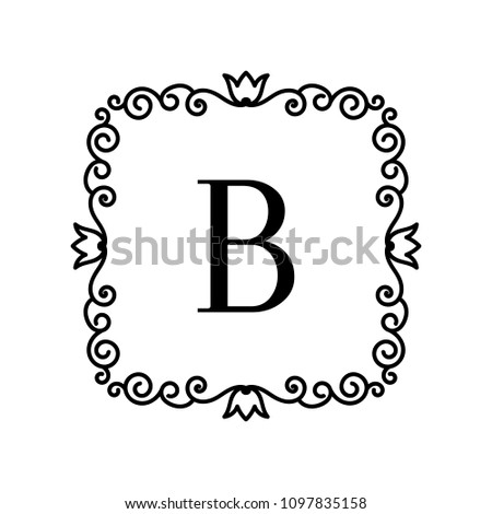 Vintage Frame Your Text Vector Monogram Stock Vector 1097835158 ...