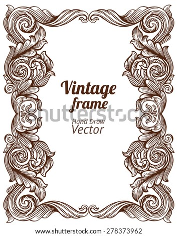 Vintage frame. Hand draw vector. - stock vector