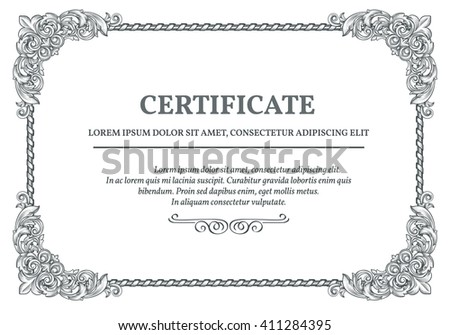 Vintage frame baroque style certificate template stock vector vintage frame in baroque style and certificate template engraved corners for vintage design vector yelopaper Images