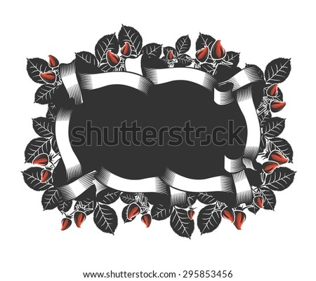 vintage frame in retro style. beautiful ribbon around a rectangle on a colored background - stock vector