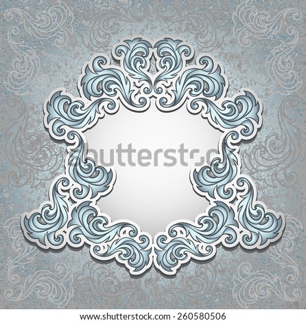 Vintage frame in silver color for invitation or congratulation wedding or Christmas or New Year or for decorate perfume or cosmetic or for package   - stock vector