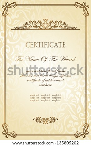 Vintage frame on a floral background in retro style. Can be used as certificate