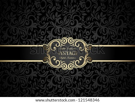 Vintage frame on abstract floral black background, seamless - stock vector