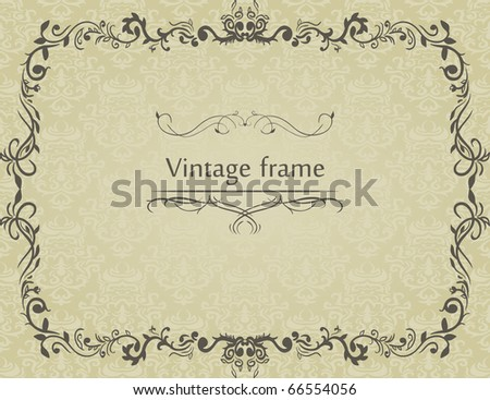 VIntage frame on damask background - stock vector