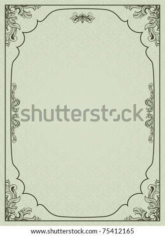 Vintage frame on damask background. - stock vector