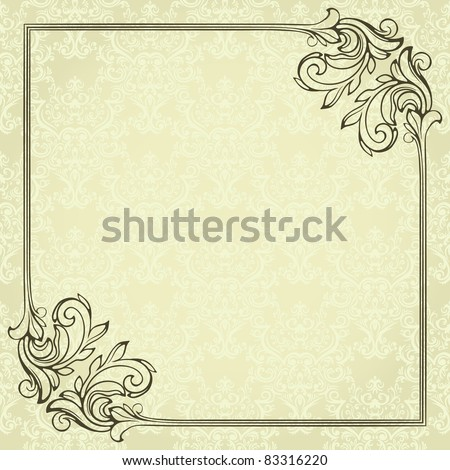 Vintage frame on damask background. - stock vector