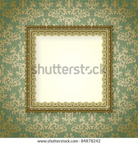 vintage frame on damask background - stock vector