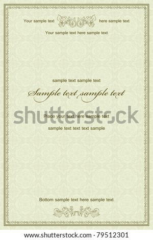 Vintage frame on damask seamless background. Could be used for invitation, certificate or diploma - stock vector