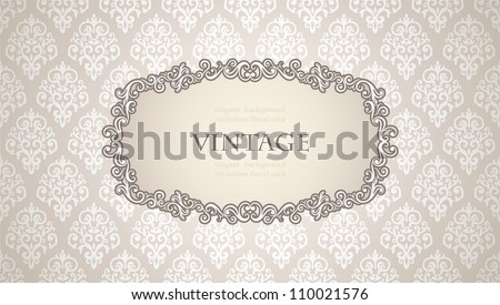 Vintage frame on Floral Damask wallpaper, elegant style - stock vector