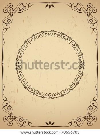 Vintage  frame on grunge backgound. Vector illustration - stock vector
