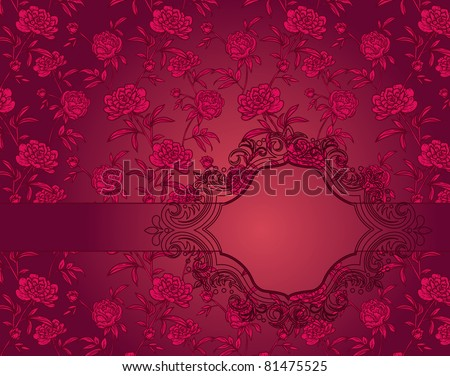 vintage frame on red background with Peonies - stock vector