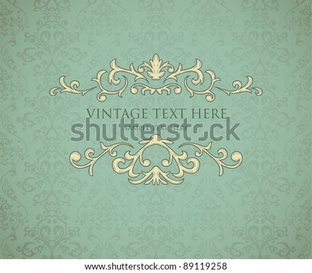 Vintage frame on seamless damask background. Background is situated on own layer and can be used separately. - stock vector